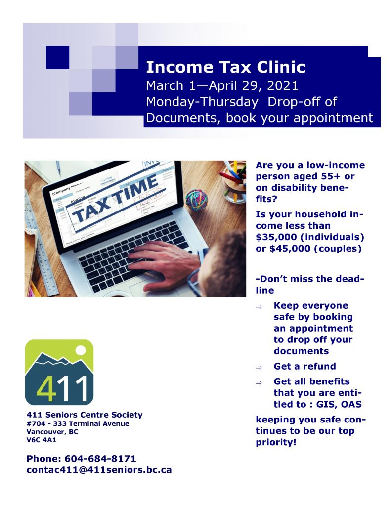 Poster for 411 Seniors Centre Society's Income Tax Clinic